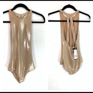 Halston Heritage Angelica Metallic Jersey Bodysuit